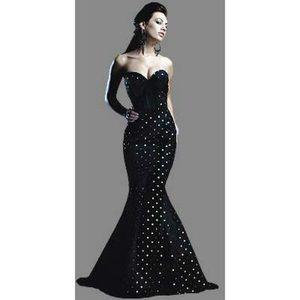Black & Gold Polkadot Trumpet Dress, size 0